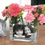 Mom's Glass Photo Vase