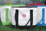 Monogrammed 2 Tone Canvas Tote Bags in 3 Color Choices - Personalized Free!