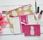 Monogrammed 3 pc Pineapple Cosmetic Bag Set