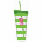 Monogrammed Acrylic Tumbler with Straw - Lime Stripes