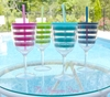 Monogrammed Acrylic Wine Glass in Preppy Pink Stripes