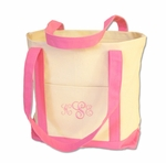 Monogrammed Beach Bag - Medium Pink