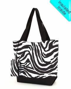 Monogrammed Beach & Pool Tote - Insulated - Black & White Zebra Print