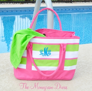 Monogrammed Beach Tote Bag - Preppy Pink & Lime Stripes