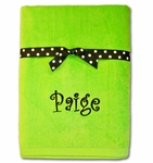 Monogrammed Beach Towel - Lime Green With Polka Dot Ribbon