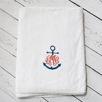 Monogrammed Beach Towel with Anchor Monogram