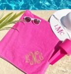 Monogrammed Beach Towels - Pink with Gold Thread
