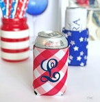 Monogrammed Can Cooler Red Plaid