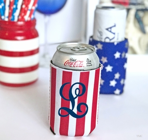 Monogrammed Can Cooler Red Stripes
