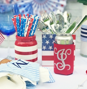 Monogrammed Can Coolers in Red, White or Blue