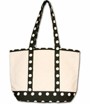 Monogrammed Canvas Tote Bag - Black Polka Dots - Personalized Free!