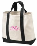 Monogrammed Canvas Tote Bag- Great  Beach Bag- SUPER SALE!