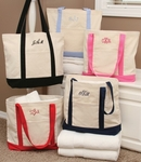 Monogrammed Canvas Tote Bags - 6 Color Choices