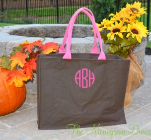 Monogrammed Classic Brown Open Tote Bag