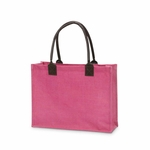 Monogrammed Classic Jute Tote Bag Pink - Personalized Free!