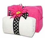 Monogrammed Cosmetic Bags Set - Hot Pink & White