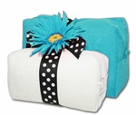 Monogrammed Cosmetic Bags Set - Turquoise & White