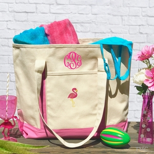 Monogrammed Flamingo Boat Tote Large