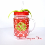 Monogrammed Insulated Acrylic Mason Jar - Red Quatrefoil
