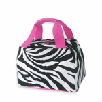 Monogrammed Insulated Lunch Tote Bag - Pink Zebra