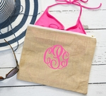Monogrammed Jute Burlap Carry All Bag Pouch