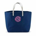 Monogrammed Jute Burlap Tote Bag in Navy