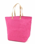 Monogrammed Large Jute Tote Bag - Hot Pink - Personalized Free!