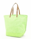 Monogrammed Large Jute Tote Bag - Lime Green - Personalized Free