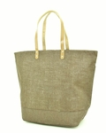 Monogrammed Large Jute Tote Bag - Olive Green - Personalized Free