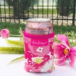 Monogrammed Lilly Pulitzer Can Cooler - Scarlet Begonia