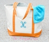 Monogrammed Personalized Beach Bag - Florida Orange
