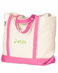 Monogrammed Personalized Beach Tote Bag - Hibiscus Pink