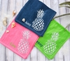 Monogrammed Pineapple Beach Towel - Hot Pink