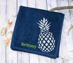 Monogrammed Pineapple Beach Towel in Navy Blue