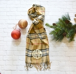 Monogrammed Plaid Scarf - Camel Cream Black & Burgundy