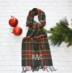 Monogrammed Plaid Scarf - Charcoal Red & Green
