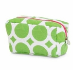 Monogrammed Quilted Cosmetic Bag - Large Dots Lime