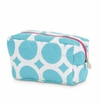 Monogrammed Quilted Cosmetic Bag - Large Dots Turquoise