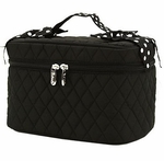 Monogrammed Quilted Cosmetic Case - Black & White