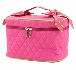 Monogrammed Quilted Cosmetic Case - Pink & Lime