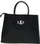 Monogrammed Quilted Overnight Tote Bag