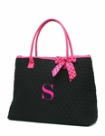Monogrammed Quilted Overnight Tote Bag - Black & Fuchsia -