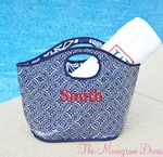 Monogrammed Reusable Bucket Tote - Nautical Colors