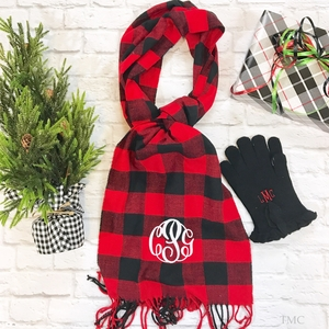 Monogrammed Scarf - Buffalo Plaid Red