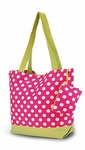 Monogrammed Tote Bag in Pink & Lime Polka Dots