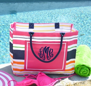 Monogrammed Tote Bag Pink & Navy Multi Stripe
