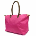 Monogrammed Tote Bag With Faux Leather Handles - Bright Pink
