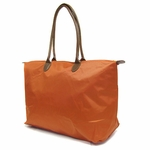 Monogrammed Tote Bag with Faux Leather Handles - Burnt Orange