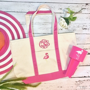 Monogrammmed Flamingo Boat Tote Medium
