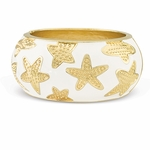 Starfish Enamel Bangle Bracelet in White - 80% Off